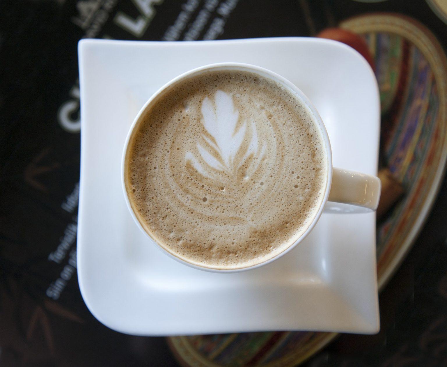 Latte With a Leaf Design